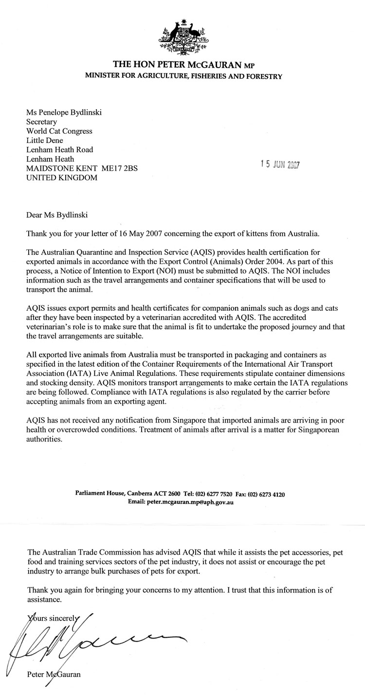 reply from the Australian Ministry regarding transport of animals to Asia