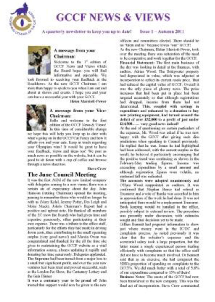 "GCCF quarterly ""News & Views"""